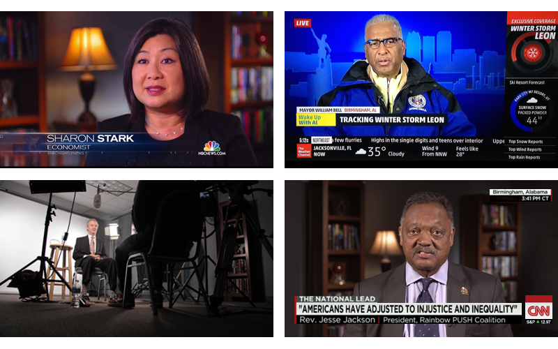 Examples of live shots and interviews from the Crewsouth studio.  They include NBC News, Weather Channel, and CNN.